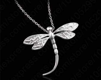Dragonfly Jewelry,Dragonfly Necklace,Silver Dragonfly Necklace,Silver dragonfly Jewelry