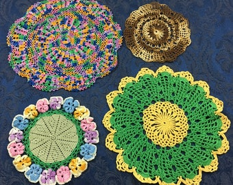 Vintage Hand Crafted Colorful lot of 4 Crochet Doilies
