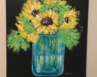 Sunflowers Painting, sunflower painting, acrylic painting, sunflower decor, Mason jar painting, mason jar