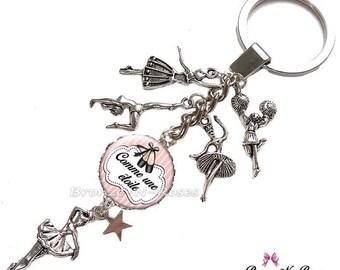 """Porte clés """" Comme une étoile """" cabochon métal argenté breloque danseuse verrefille"""
