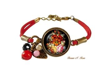 """bracelet """" Bouquet de fleurs """" bijou cadeau Bohême rouge slave"""