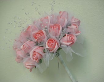 PINK Rose Buds with Pearls Bouquet Artificial Foam Flower Bush 695PK