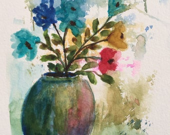 Flowers in blue vase/Watercolor Greeting Card/Blue vase/Flowers watercolor/5 x 7 greeting card/Card and envelope/Floral greeting card