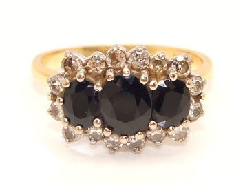 Vintage 18Ct Yellow Gold 1.8 CTW Sapphire & Diamond Cluster Ring, Size K 1/2, 6g