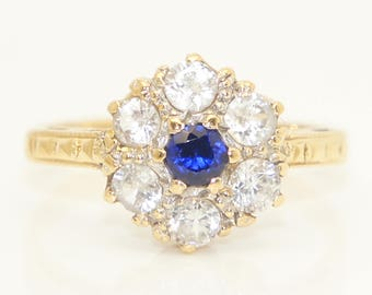 1967 Vintage 18ct Yellow Gold Sapphire and Spinel Cluster Ring, Size K