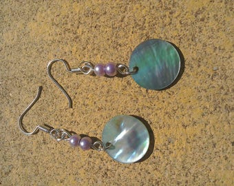 Shell and faux pearl earrings