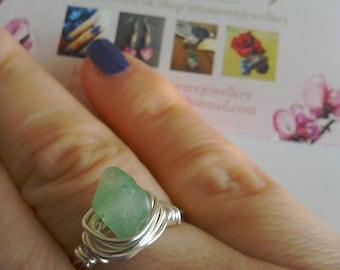 Green Aventurine silver ring