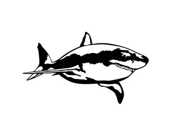 Great White Shark Graphics SVG Dxf EPS Png Cdr Ai Pdf Vector Art Clipart instant download Digital Cut Print File Cricut Silhouette Decal