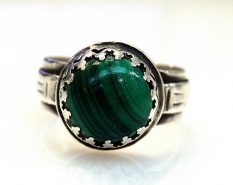 Sterling Silver Malachite Bead Ring