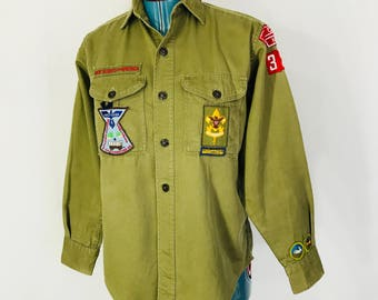 Vintage Boy Scout Uniform Shirt BSA 1950s 1960s Sanforized Cary NC Patches Small Made In USA Mid Century North Carolina
