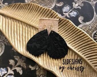 Leather Earrings, Embossed Earrings, Black Earrings, Boho Earrings, Teardrop Earrings