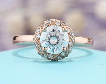 Brilliant Moissanite engagement ring rose gold Vintage Unique diamond wedding women Alternative Flower Delicate Promise Anniversary gift