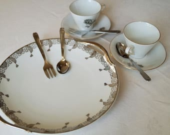 Limoges dish Art Deco, white and silver tableware.