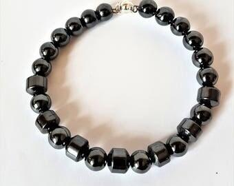Hematite bead bracelet for men