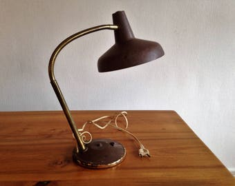 Antique Brown - industrial - workshop lamp 1970