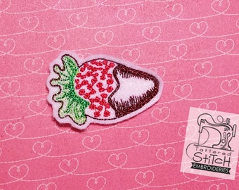Chocolate Dipped Strawberry Feltie - Machine Embroidery Design. 4x4 hoop Instant Download. Felties. Valentines Day, Love, Fruit Feltie.