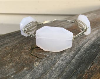 White bead bangle bracelet