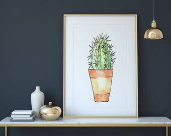 Watercolor Cactus In Tall Thin Pot Plant Print, Art Print, Wall Art, Botanical Print, Printable, Room Decor, Instant Digital Download