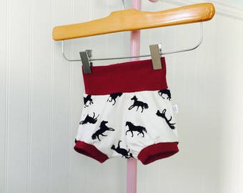 Scalable shorts 0-9 months, children's clothing, baby, horses, girl clothing, summer