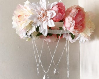 Pink floral chandelier baby mobile