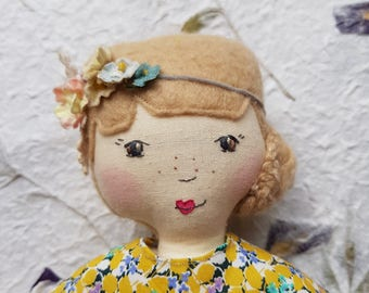 "Calico vintage style cloth doll ""Celeste"", one of a kind ragdoll, heirloom, baby gift"