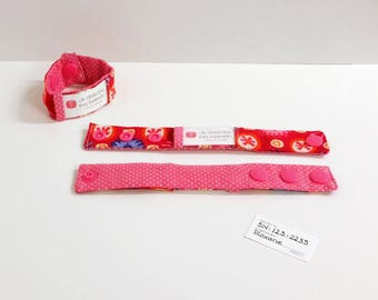 Kid identification bracelet, fabric bracelet, fabric cuff, fuschia, READY TO SHIP