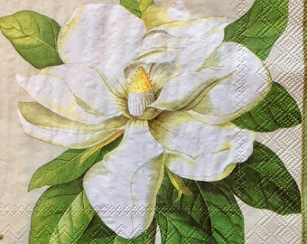 Decoupage Napkins x4, Paper Napkins for Decoupage Scrapbooking Collage Craft White Flower 528