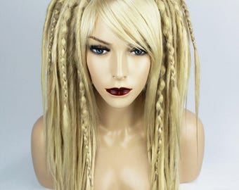 Cyber goth alternative big blonde wig