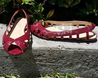 90s Vintage Women's Talbots Patent Leather Slingback Sandals/Flats  Shoes Size 6