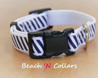 Navy and White Diagonal Striped Dog Collar