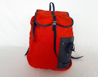 Bag MILLET FRANCE 80s, red and blue vintage backpack