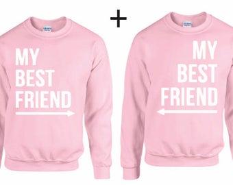 My best friend  Couple Sweater Heather Grau - couple hoodie, couple pullover, couple t-shirt, couple tee, Pärchen, best friends,friends gift