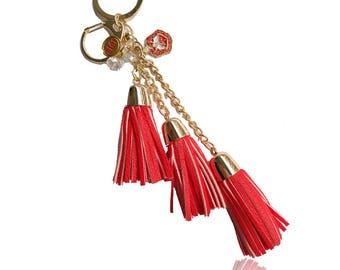 Delta Sigma Theta Tassels Keychain Purse Bag Pendant Holder