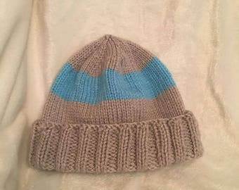Baby boy hat- Blue and Gray