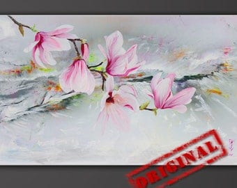 "Original Surrealism Flowers Acrylic Painting, ""Portrait of the Magnolia"" by Mihail Karavaev, Painting on Canvas 26""x40""(66x100cm)"