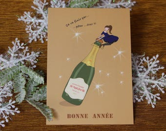 Gift card-Christmas postcard-Nanouq-card greeting-happy Fetes-champagne-fete-illustration-papeterie-happynewyear-merrychristmas-christmas