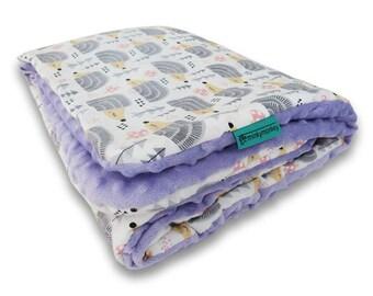 Cuddly baby blanket, Minky baby blanket, Soft baby blanket, Sweet hedgehogs  blanket, Baby girl blanket, Modern baby blanket, Lilac minky
