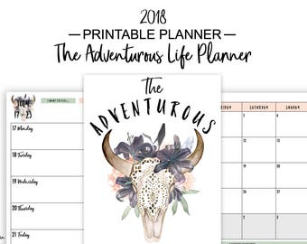 2018 Planner, 2018 Weekly Planner, 2018 Printable Planner, 2018 Printable, Weekly Planner 2018, Planners and Organizers, Planner, A5, A4
