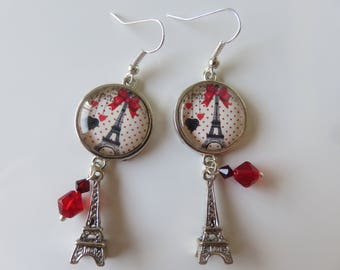 """Paris"", glass cabochons adorned with Eiffel Tower and Pearl Earrings"