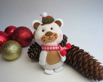 Christmas Bear Ornament, Christmas Tree Ornament, Christmas Decoration, Felt Ornament