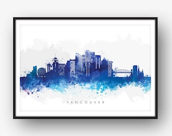 Vancouver Skyline, Vancouver Canada Cityscape, Art Print, Wall Art, Watercolor, Watercolour Art Decor [SWYVR06]
