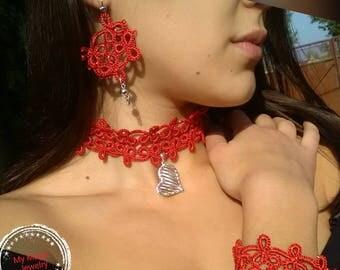I Love Red/ Tatting Set/ Wrap Choker Necklace/ Boho Earrings/  Frivolite Bracelets / Elegant and Stylish/ Holiday Jewelry/Tatting Lace
