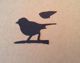 Bird on branch (3) paper die cut with wing