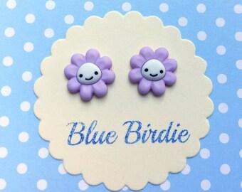Cute kawaii flower earrings flower jewellery flower jewelry happy purple flower earrings  cute flower earrings flower gifts