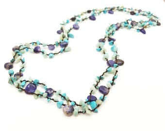 "60"" Amazonite, Sodalite and Turquoise Magnesite Knotted Necklace"