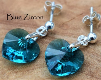 Sterling Silver dangly earrings with Swarovski® Blue Zircon Crystal
