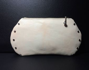 Unique model riveted, raw leather clutch purse
