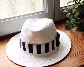Panama  straw hat for woman, white borsalino hat, size 22 1/4 inches. 57 cm. UK 7 medium brim, summer hat.