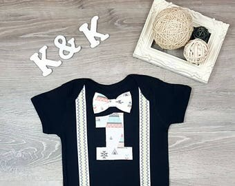 Boho First Birthday Boy, 1st birthday boy, Suspender and Bow tie, smash cake boy outfit, boys first birthday, bow tie birthday