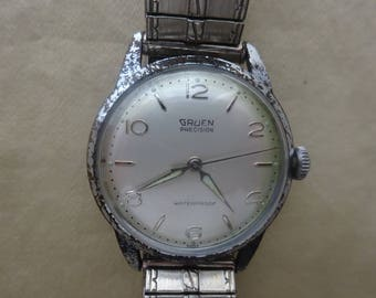 Free Shipping/Gruen Manual Watch/Vintage Gruen Watch/Vintage Gruen Silvertone Watch/Manual Watch/ Silvertone Watch/Gruen Precision Watch
